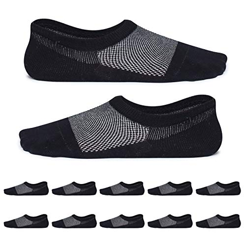 YouShow calcetines mujer hombre finos 10 pares polares calcetin Anti-olor calcetines cortos(Negro,43-46)