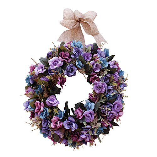 Artificial Flower Wreath/Handmade Floral Artificial Simulation Rose Flowers Garland Wreath for Home Front Door Christmas Wedding Party Decoration