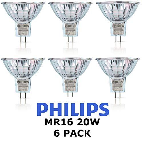 Philips Halogen-Leuchtmittel, 12 V, MR16, 20 W, GU5.3, 36D, 4000 Stunden, dimmbar, dimmbar, 6 Stück