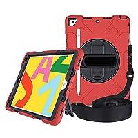 """A-BEAUTYケースiPad 10.2"""" 2019第7世代、[スクリーンプロテクター] [スタイラスペン] [鉛筆ホルダー] [ハンドストラップショルダー] [ダストプラグ] [360°回転ディスク]、赤"""
