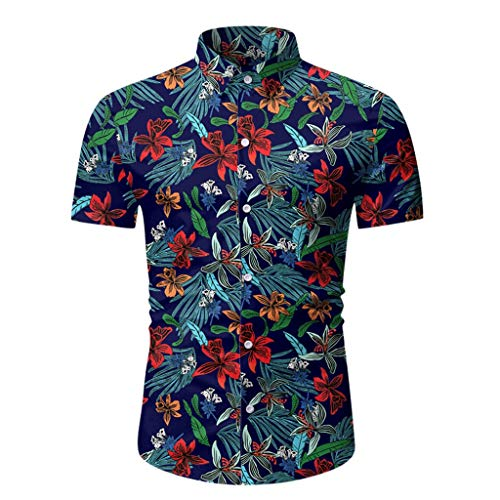 Preisvergleich Produktbild UJUNAOR Herren Poloshirt Kurzarm Regular Fit Freizeit Polo Kragen mit Knopfleiste Basic Männer Casual Sommer Gedruckt Taste Kurzarm Hawaiian T-Shirt Top Bluse