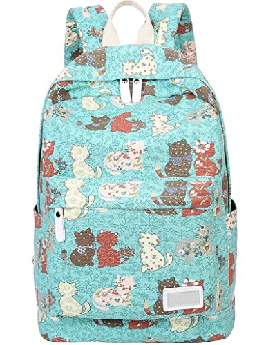 Check Out This Myosotis510 Lightweight Canvas Preppy Style Cute Cat School Backpack Laptop Bag for G...