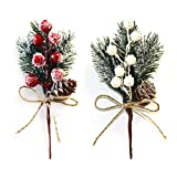 HANTURE 20PCS Artificial Christmas Picks with Berries Pinecone Faux Assorted Red Berry Picks Stems Branches for Xmas Floral Arrangement Wreath Winter Holiday Crafts Decor