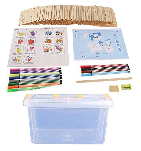 Kinder DIY Zeichnung Set, Malerei Aquarell Stifte Holzschablonen Lernset 65 Stck