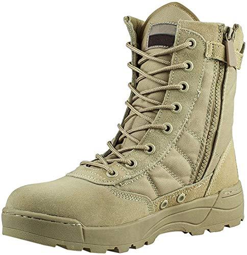 Fuyingda Cuero Cremallera Lateral Desierto Botas tácticas Militares de ejército Patrulla de Combate cadete Selva 7inch policía Zapatos de Trabajo
