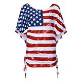 YOCheerful Womens Tops Short Sleeve Blouses Patriotic Stripes Star American Heart Print Blouses Loose T-Shirts (Red, S)