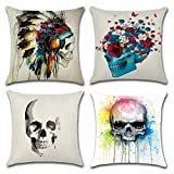 HuifengS Linen Throw Cushion Pillow Covers Square Pillowcase Halloween Skull Decorative for...