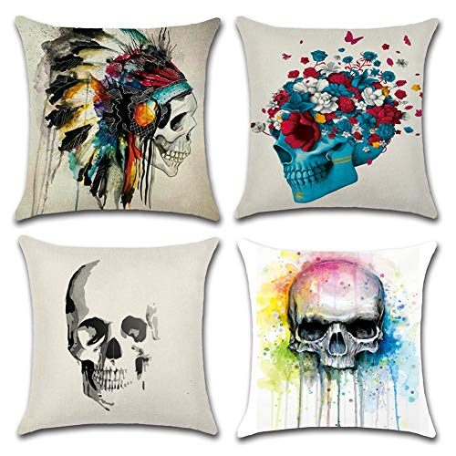 HuifengS Linen Throw Cushion Pillow Covers Square Pillowcase Halloween Skull Decorative for Sofas Beds Chairs Cushion Cover Set of 4, 18 x 18 Inch