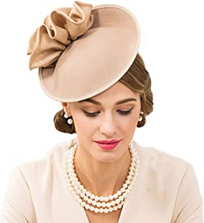 F FADVES Wedding Wool Pillbox Fascinators Felt Fedora Hats Women Flower Derby Church Tilt Hat