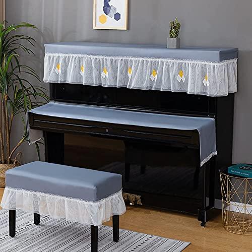 YXKA Piano Cover Tuch Upright Piano Full Cover Piano Cute Lace Keyboard Cover Hocker Cover Staubdichte Abdeckung