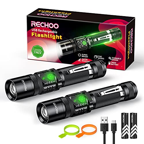 Rechargeable Flashlight 2 Pack, RECHOO Double Switch LED Tactical Flashlights S3000L High Lumens Super Bright 5 Modes Zoomable Waterproof Flash Light for Emergency Camping, Battery Included