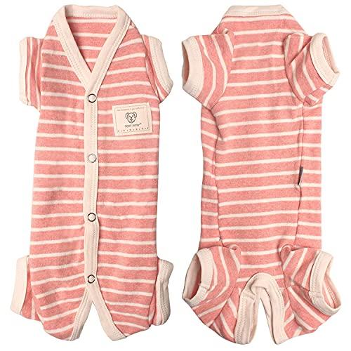 TONY HOBY Hunde-Pyjama für weibliche Hunde, gestreift, 4 Beine, weiche Baumwolle, Hundebekleidung (XL, Rosa + Weiß)
