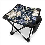 アウトドア 椅子 現実的な咲く孤立した花ヴィンテージ生地 アウトドア 椅子 ピクニック 釣り コンパクト イス 持ち運び キャンプ用軽量 収納バッグ付き 折りたたみチェア レジャー 背もたれなし