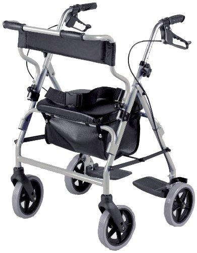 Homecraft Rollator en Transit stoel combinatie, gevoerde stoelen en rugleuning, afsluitbare remmen, voetsteunen en riem voor veiligheid, lopen mobiliteitshulp, zilver,