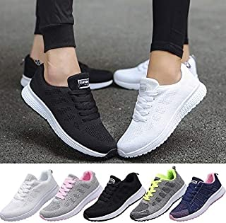 New Spring Autumn Mesh Lovers Sneakers Women Running Shoes Fly Weave Light Breathable Sport Shoes Comfortable Sneakers Casual Trainers(Blue,35)