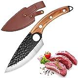 Cuchillo de Cocina, Cuchillo de Carnicero para Deshuesar con Agujero, Cuchillo de Carne Afilado con Vaina, Mango Cómodo, Cuchillo de Chef Antioxidante para Cocina / Restaurante (marrón)