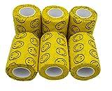 Venda Cohesiva Smiley Amarillo 6 rollos x 7,5 cm x 4,5 m autoadhesivas vendaje Flexible, calidad profesional, primeros auxilios, lesiones de los deportes, rodillos embalados individualment - Pack de 6