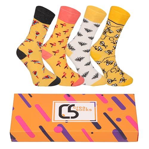 CREA SOCKS Socken für Männer & Frauen, ausgefallene, witzige Socken für Geschenke, Baumwollsocken, Geschenke für Männer, einzigartige gemusterte Socken, 4 Paar bunte Socken EU 41-46