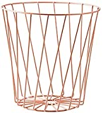 Yodio Wire Slot Diagonal Pink Modern Round Metal Wire Storage Basket Trash Basket, Suitable for Home Kitchen Bedroom Use