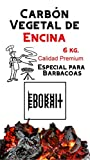 Carbón Vegetal Ecologico de Encina, para Barbacoas, Procedente de la Poda de Dehesas, Alto Poder calorífico, Larga Duración, Especial Barbacoas y Restaurantes. (Carbon 6Kg)