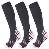 +MD Chaussettes de compression pour hommes Circulation 15-20mmHg Chaussettes hautes de récupération pour la course à pied, athlétique, infirmières
