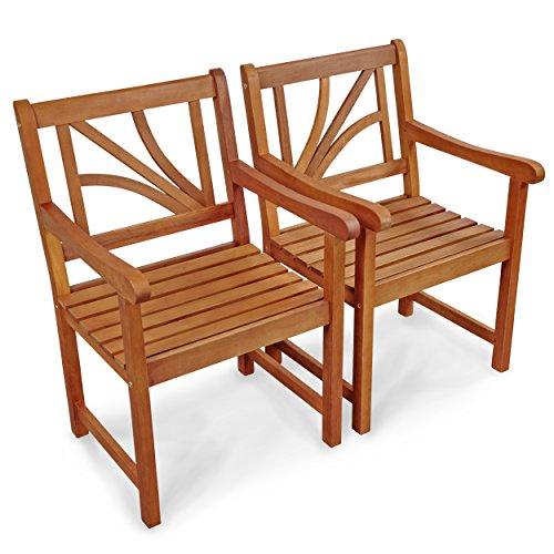 Indoba 2x Gartenstuhl Lotus Gartenmöbel Gartensessel Holz, braun, 56 x 61 x 88 cm, IND-70024-ST