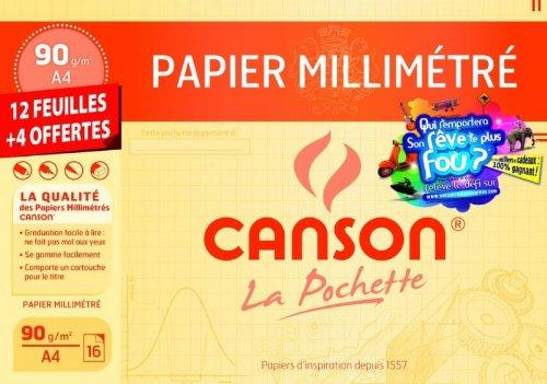 Canson - Beaux-Arts - Pochette Canson Millimétré Bistre 90g/m² 12+4 feuilles A4 - JEU RDC 2010