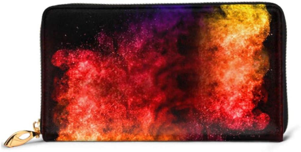 Fashion Handbag Zipper Wallet Multicolor Powder Explosion On Black Background Phone Clutch Purse Evening Clutch Blocking Leather Wallet Multi Card
