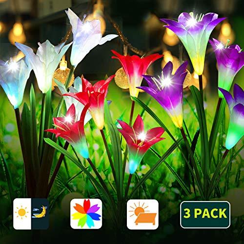 Solar-Blumen-Lichter, Blumen-Lilie, Solar-Blumen, für den Außenbereich, mehrfarbiger wechselnder LED-Solarbetrieben, mit 12 Lilienblüten für Garten, Terrasse, Hof, Weiß, Rot, Violett, 3 Stück