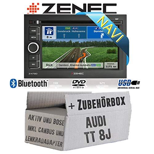 Autoradio Radio Zenec N720MH | 2DIN PKW Navigationssystem mit Bluetooth USB Einbauzubehör - Einbauset für Audi TT 8J Lenkradfernbedienung 2DIN Aktiv Bose- JUST SOUND best choice for caraudio
