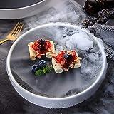 BZAHW Vassoio di Ghiaccio Secco Opaco Rotondo in Bianco e Nero del Ristorante di Sushi del Ristorante dell'hotel di Sushi Giapponese Creativo delle stoviglie (Color : White, Size : 11 Inches)
