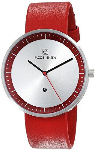 Jacob Jensen Unisex Analog Quarz Uhr mit Leder Armband 32273