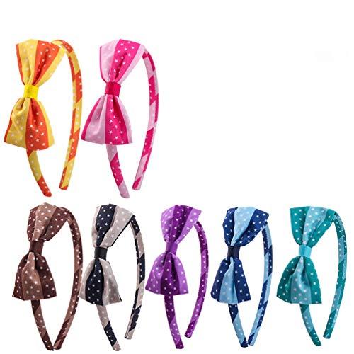 Lurrose - Set di 7 cerchietti per capelli con fiocco, motivo a pois, a righe, per bambine e ragazze