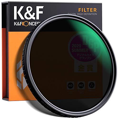 Filtro ND2-ND32 (5Pasos) K&F Concept 82MM Filtro Densidad Neutra Ajustable ND2 ND4 ND8 ND16 ND32 Slim Vidrio Óptico Nano-Recubrimiento MRC de 18 Capas para Todas Las Lentes de cámara DSLR