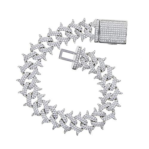 WPJ Pulsera de los Hombres 5A Zircon Remache sólido Spike Thorns Cuban Link Chain Bling Pulseras para el Regalo de Fiesta de Moda para Hombre (Length : 19cm, Metal Color : Silver Color)