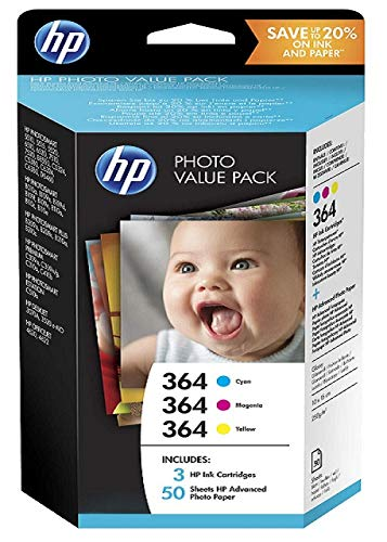 Hp - Photo value pack 364 series 50 sheets 10x15 cm - cartucho de tinta para impresoras (cian, magenta, amarillo, , photosmart d5460 photosmart b8550 photosmart c6380 photosmart 5510 deskjet 3070a, 10 x 15 cm, ampolla)