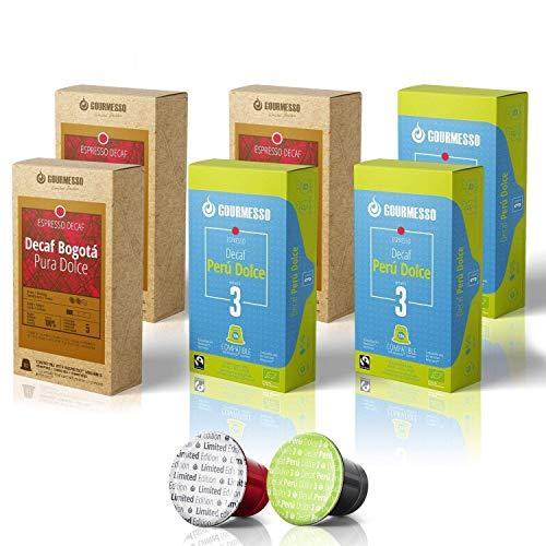 60 Decaf Espresso Pods – 30 Peru Dolce & 30 Bogota Pura Dolce Fair Trade Gourmesso Espresso Capsules Compatible with Original Line Nespresso Machines   6 boxes - 2 Blends - 60 pods   100% Fair Trade Certified