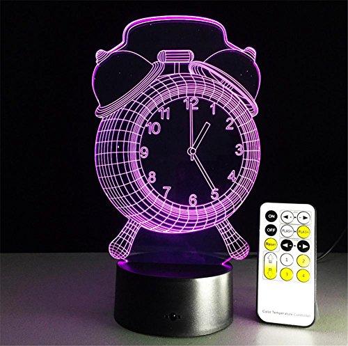 Veilleuses Illusions Optiques Horloge Lampe de bureau 3d 7 couleurs Changement tactile interrupteur à distance Tableau de commande LED Night Light Lighting Décoration Accessoires pour la maison