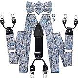 GYZX Cravate Suspendue et nœud Papillon pour Hommes pour la fête de Mariage Vintage Mode Silk Silk en Cuir Floral Métal 6 Clips Bretelles Bretelles (Color : A, Size : Adjustable)