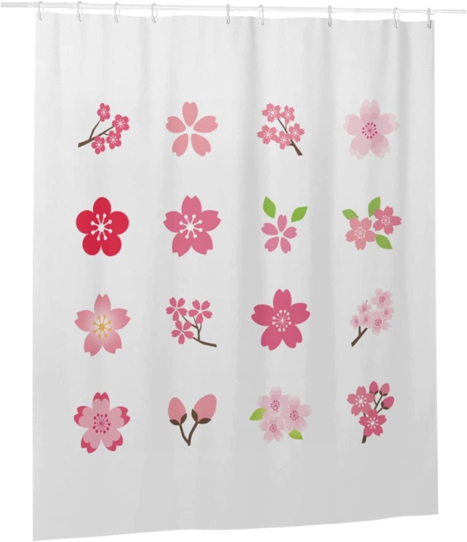 Houston Mall IDNUYIA Cherry Blossom Shower Max 74% OFF Curt Curtain