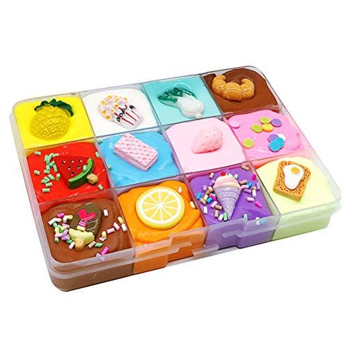 Yuyaosh Schleim-Set für Mädchen, Kunst und Handwerk für Kinder, DIY, flauschiger Schleim, Obstschale, Schlamm, ungiftig