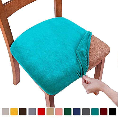 Fundas de asiento de silla elástica para comedorSilla de comedor tapizada de terciopeloProtectores de cojines de asiento Fundas desilla extraíbles y lavables con lazos Juego de 1 (1PC) verde azulado