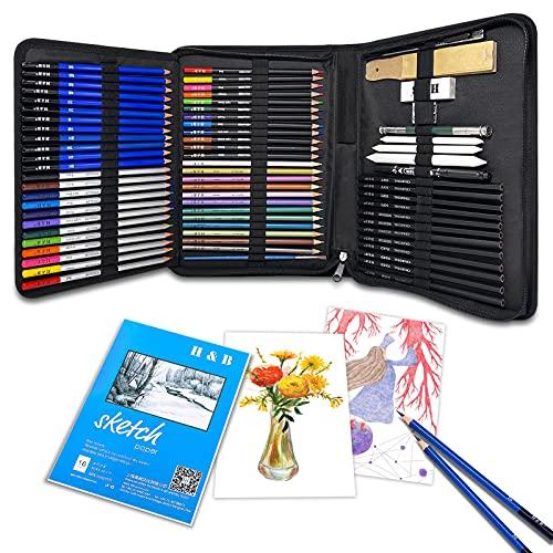 TWBEST Bleistifte Skizzierstifte Set,Bleistift Set,71pcs Skizzieren und Zeichnen Professionelle Art Set mit Graphitkohlestifte Sticks Werkzeuge und Kit Bag