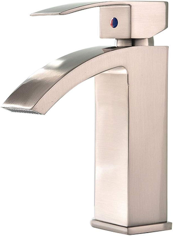 ZTMN Waschtischarmatur Waschtischarmatur Warmes und kaltes Bad Waschtischarmatur Einhand-Einhandarmatur Moderne, gebürstete Waschtischarmatur