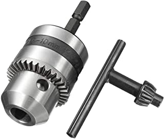 Eyech 1/4 Inch Hex Shank 1.5-10mm Keyed Three-Jaw Drill Bit Chucks Quick Connect Adapter Conversion Impact Driver Capacity Mount 3/8-24 UNF