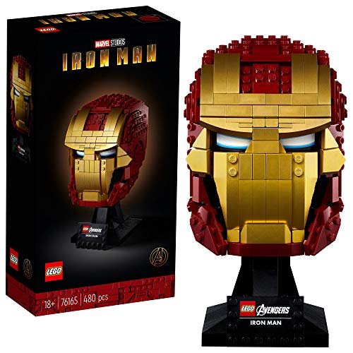 LEGO Marvel Avengers Iron Man Helmet 76165; Brick Iron Man-Mask for-Adults to Build and Display, Creative Challenge for Marvel Fans,...