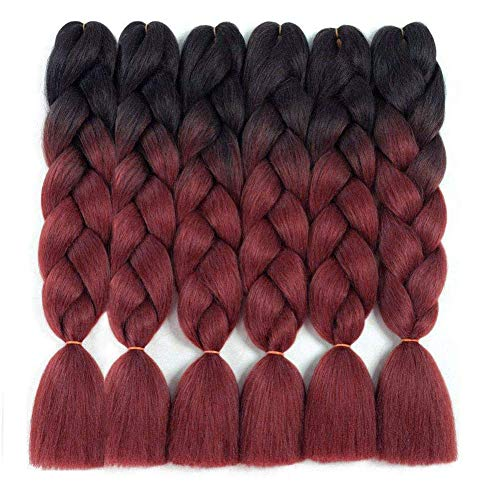 6 Pack Ombre Braiding Hair 100% Kanekalon Jumbo Braiding Hair 24 Inch Hair Extensions for Braiding (Black-Burgundy)