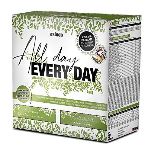 sinob All Day Every Day - Multivitamine und Mineralstoffe. Nahrungsergänzung mit Mikronährstoffen wie Omega-3, Coenzym Q10, A-Z Vitamine, Lecithin, Magnesium, Zink 1 x 30 Päckchen á 8 Einheiten.