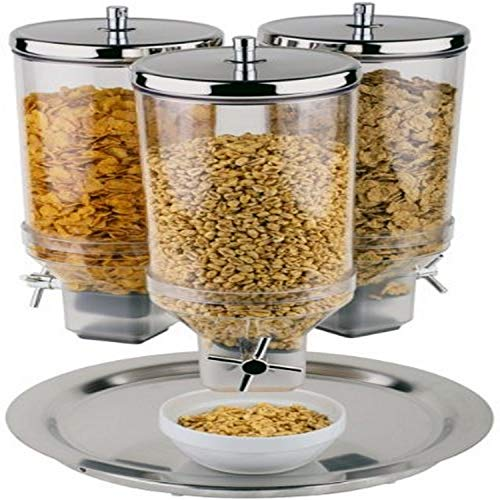 Lowest Prices! Aps Paderno World Cuisine 4.8-Quart Polypropylene 3 Cereal Dispenser with Stainless S...
