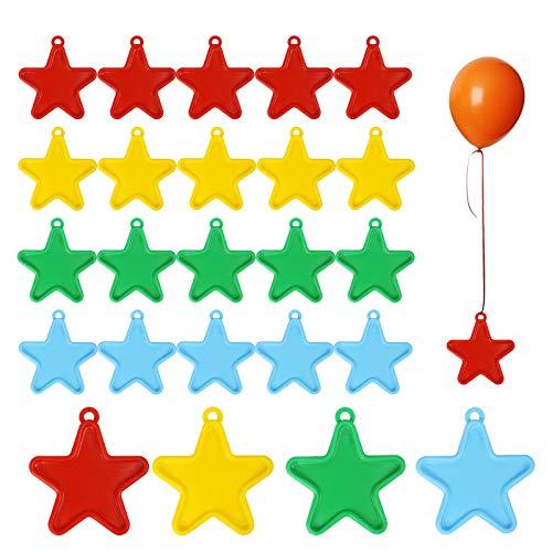 ZERHOK 24Stk Luftballons Gewichte Stern Ballonbeschwerer Bunte Ballongewicht Kleinkinder Ballondekoration für Helium Latex Ballons Hochzeit Geburtstag Party